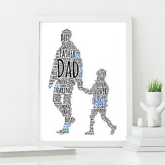 What Makes a Dad From Son Wall Print   Father's Day Gift   A4 with White Frame