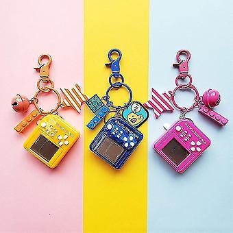Tetris Video Game Keychain Classic Game Machine Retro Nostalgic Game Console Keychain(02 Black)