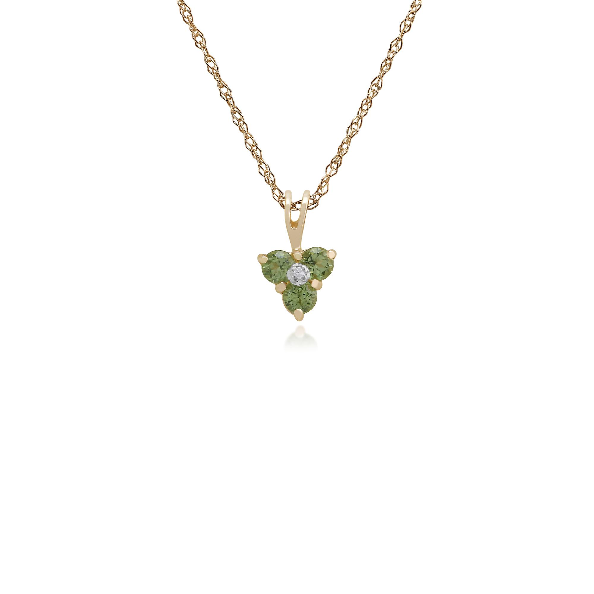 9ct Yellow Gold Peridot & Diamond Floral Stud Earring & 45cm Necklace Set