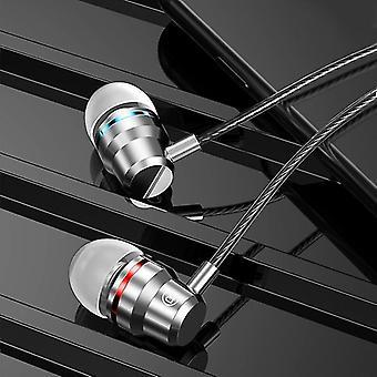 Verdrahtet in Ohrhörer Kopfhörer 3,5 mm mit Mikrofon, Bass Stereo (Ohrhörer) (Silber)