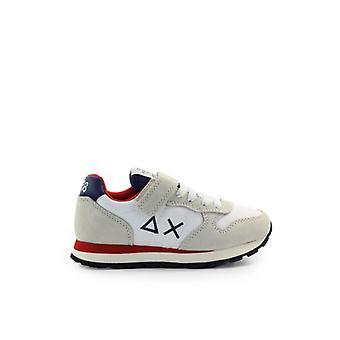 Sun68 Boy's Tom Solid Nylon White Blue Sneaker