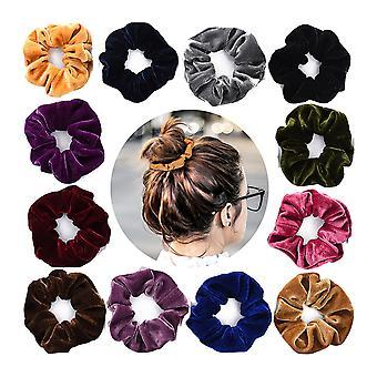 12 stuks haarbanden fluwelen meisjes set, kleurrijke fluweel rubberen haarbanden