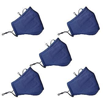 Yunyun 5 Packungen Gesichtsmaske atmungsaktiv und waschbar Anti-Haze Pm2.5 Baumwolle StoffMasken