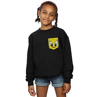 Looney Tunes Mädchen Tweety Pie Gesicht Faux Pocket Sweatshirt