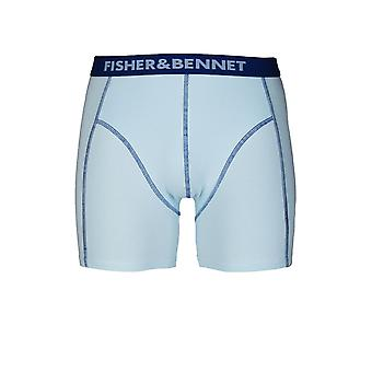 Fisher & Bennet Fisher And Bennet Mens Cotton Stretch Aqua Blue Boxer Shorts