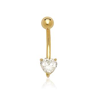 14k Yellow Gold Cubic Zirconia 14 Gauge Heart Shaped Body Jewelry Belly Ring  Measures 23x6mm Jewelry Gifts for Women