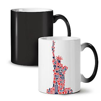 New York Statue Freedom NEW Black Colour Changing Tea Coffee Ceramic Mug 11 oz | Wellcoda