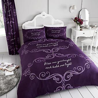 Goodnight Kiss Me greep strak Dekbedovertrek Quilt Cover kanvas afgedrukt beddengoed Set