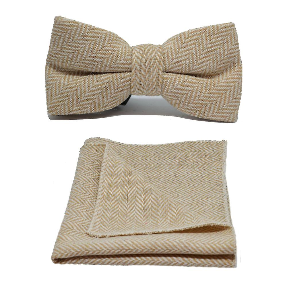 Gold & Cream Herringbone Bow Tie & Pocket Square Set