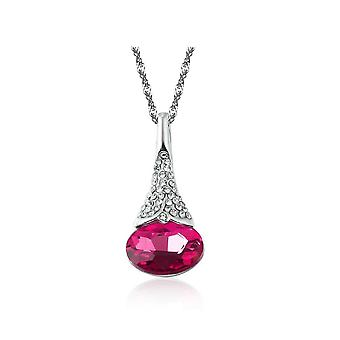 Womens Hot Pink Flower Bud Pendant Necklace With Encrusted Crystal Stones