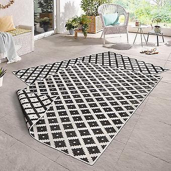 Dar vuelta la alfombra agradable crema negro in - & exterior