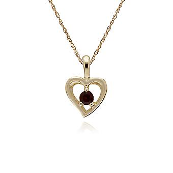Classic Single Stone Round Garnet Open Love Heart Pendant Necklace in 9ct Yellow Gold 135P1875069