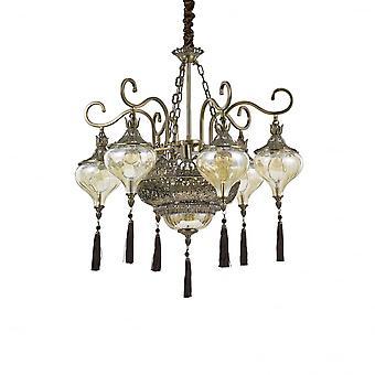 Ideal Lux Harem 9 Lámpara árabe de bronce, vidrio y tela roja