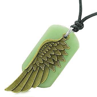 Amulet beschermengel Wing magische bescherming bevoegdheden groene Quartz Tag hanger verstelbare ketting