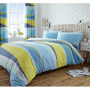 Dexter Stripes 4Pc Duvet Cover with fitted sheet Polycotton Printed Bedding Set