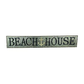 Distressed Galvanized Zinc Finish Beach House Wall Sign