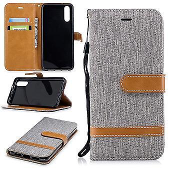 Huawei P20 téléphone affaire sac protecteur Housse Etui compartiment cas livre style gris