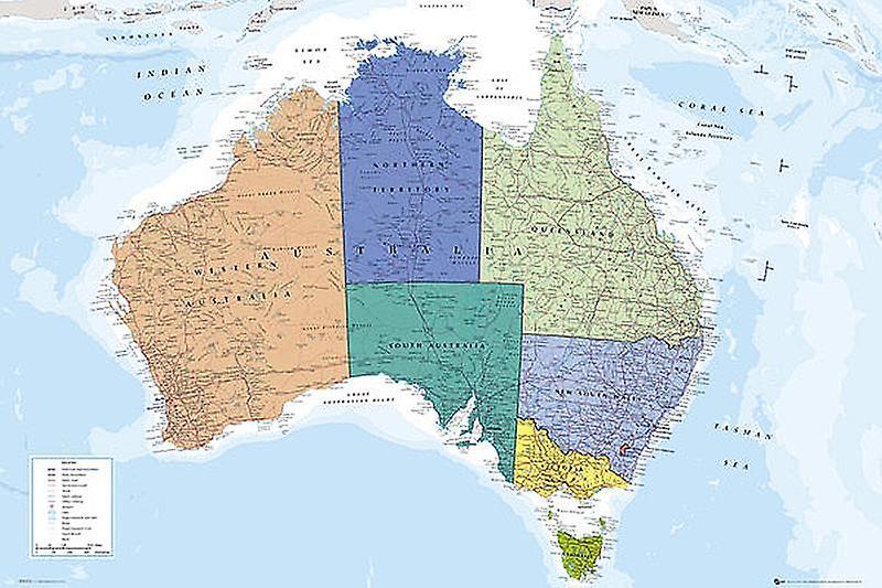 Australia Kartta Juliste Legenda Englanniksi Fruugo Suomi