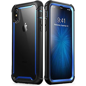 iPhone Xs Max Case,[Ares] Full-Body Rugged Clear Bumper Case with Built-in Screen Protector (2018 Release) (Blue)