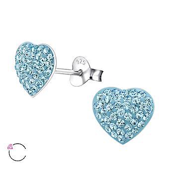 Hjärta - 925 Sterling Silver Crystal öra dubbar - W24694X