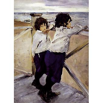 As crianças Shasha e, Valentin Aleksandrovich Serov, 50x40cm