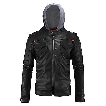 Cloudstyle Men's Jacket Faux Leather PU Hooded Jacket