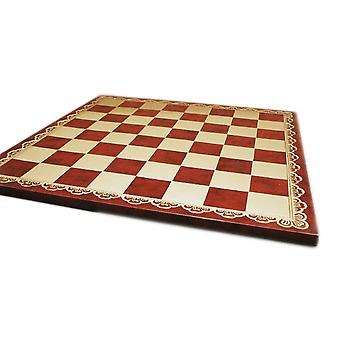 18 Inch Burgundy and Gold Pressed Leather Chess Board 2 Inch Squares