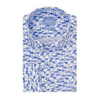 Tresanti Blue Flamingo Print Cotton Men's  Long Sleeve Shirt