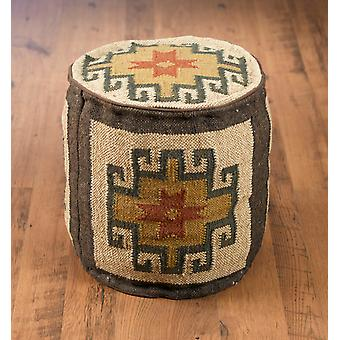 AA Importing 48842 Round Kilim Pouf