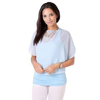 KRISP KRISP sobredimensionado gasa blusa malla Top Batwing Twin Jersey chaleco 2 en 1 camisa