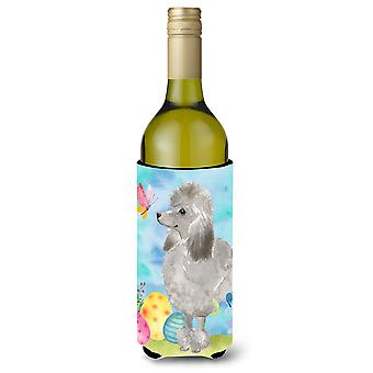 Grey padrão poodle garrafa de vinho de Páscoa Beverge isolador hugger