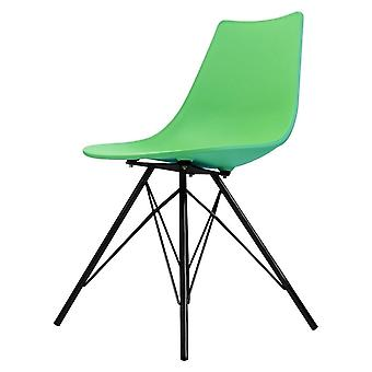 Fusion Living Iconic Peppermint Plastic daning Chair con gambe in metallo nero