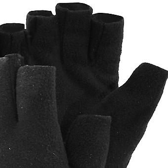 FLOSO Mens Fleece Fingerless Winter Gloves