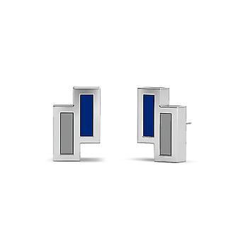 University Of Memphis Sterling Silver Asymmetric Enamel Stud Earrings In Blue and Grey
