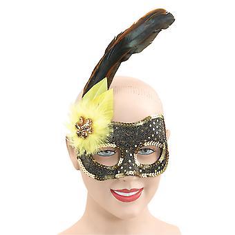 Bristol Novelty Black/Gold Sequin Eye Mask