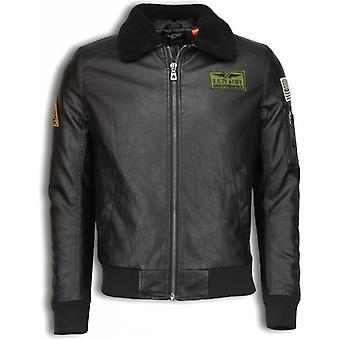 Imitation Leather Jacket - Leather Jacket - Pilots Jack - Brown