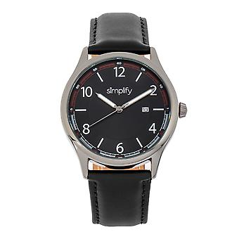 Simplifier la montre 6900 Leather-Band Watch w/ Date - Noir