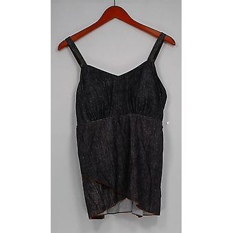 Denim & Co. Swimsuit Beach Denim Print Tankini Swimsuit Black A304226