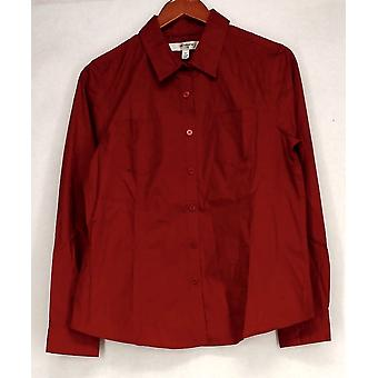 Liz Claiborne York Long Sleeve Button Down Shirt True Red Top A203752