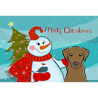 Carolines Treasures  BB1854PLMT Snowman with Chocolate Labrador Fabric Placemat