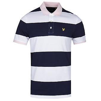 Lyle & Scott wide stripe Navy & vit piké tröja