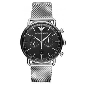Emporio Armani AR11104 - watch chronograph stål Milanese urskive sort mand