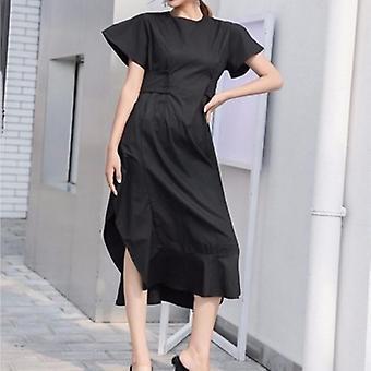 Split flare ermet tunika høy midje ruffles lang kjole