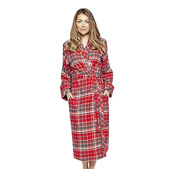 Cyberjammies 4257 Women-apos;s Belle Red Mix Check Cotton Long Robe