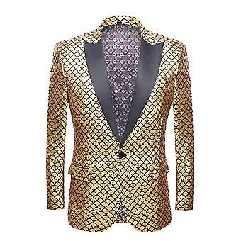 Allthemen Men's Slim Fit Fisch Skala Hochzeit Anzug Jacke
