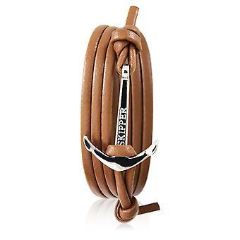 Schipper anker armband in Cognac leder met zilveren anker 7248