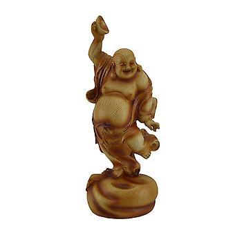 Happy Buddha Tanzen auf Reichtum Tasche hält Schüssel Holzoptik Statue