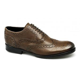 PSL Ronnie Mens Leather Brogue Shoes Burnished Brown