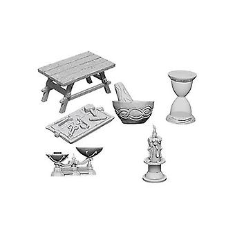 WizKids Deep Cuts Unpainted Miniatures Workbench & Tools (Pack of 6)