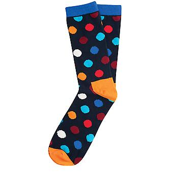 Dobell Mens Navy with Orange Polka Dot Socks